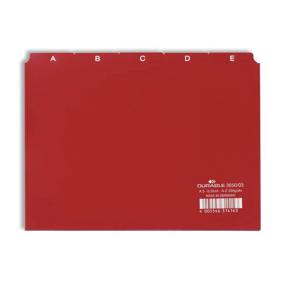 Durable Leitregister A-Z - DIN A5 quer, rot