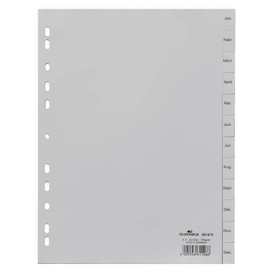 Durable Monatsregister - Jan. - Dez., A4, PP, grau, 12 Blatt
